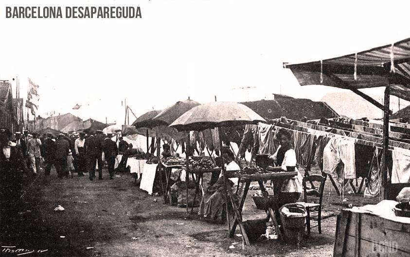 Barceloneta. Venta de mejillones al aire libre. Agosto 1916. Autor foto desconocido.