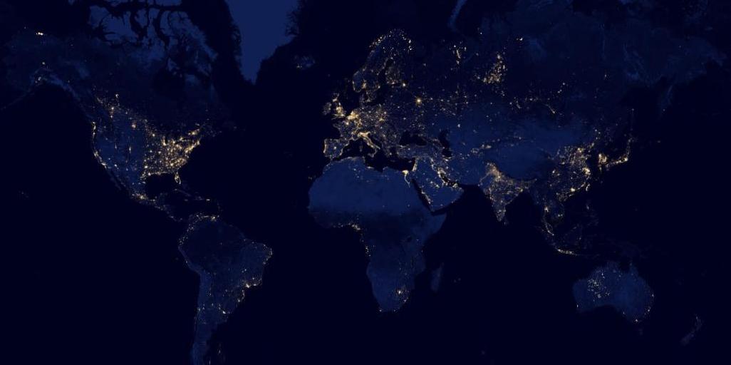 Imagen vía satélite de la Tierra de noche (NASA)
