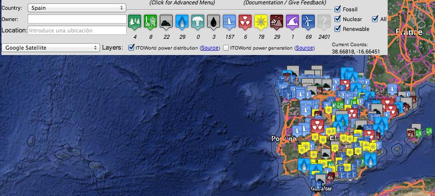 Mapa de centrales energéticas españolas (Enipedia)