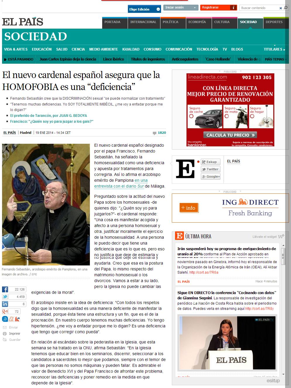 """El nuevo cardenal español asegura que la homosexualidad es una """"deficiencia""""   Sociedad   EL PAÍS"""