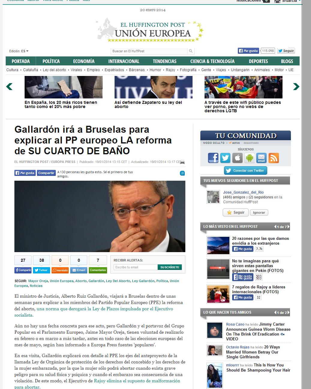 Gallardón irá a Bruselas para explicar al PP europeo su reforma del aborto