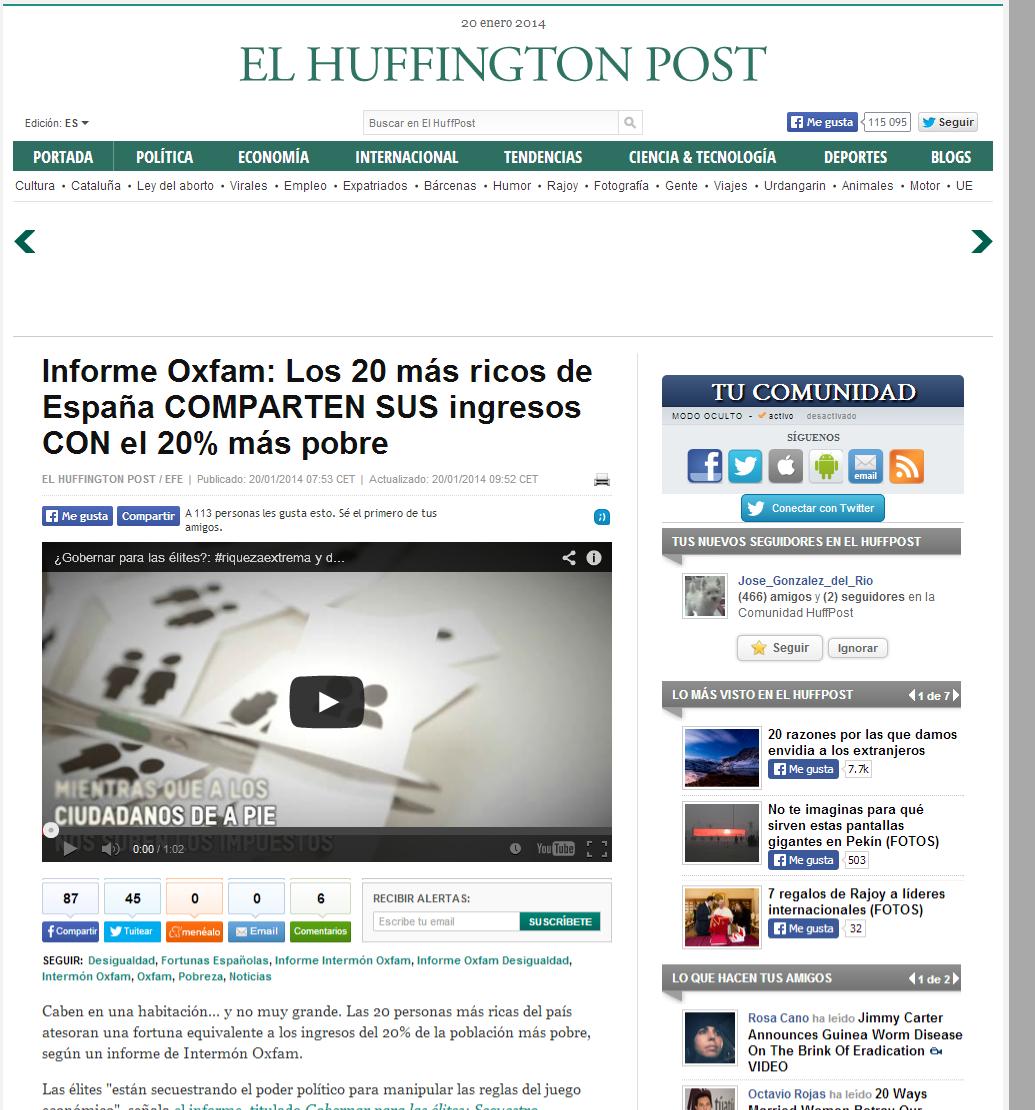 Informe Oxfam  Los 20 más ricos de España igualan los ingresos del 20  más pobre