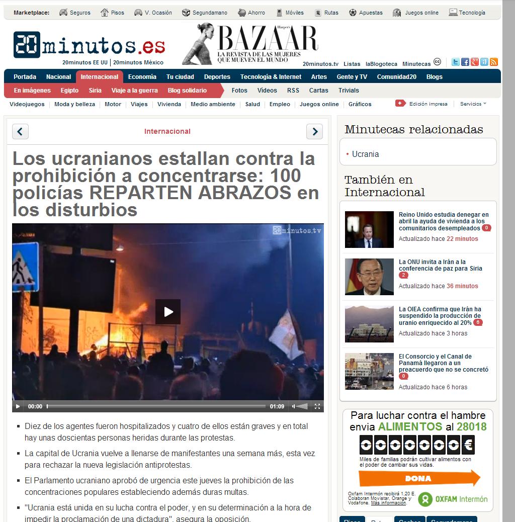 Los ucranianos estallan contra la prohibición a concentrarse  100 policías heridos en los disturbios   20minutos.es