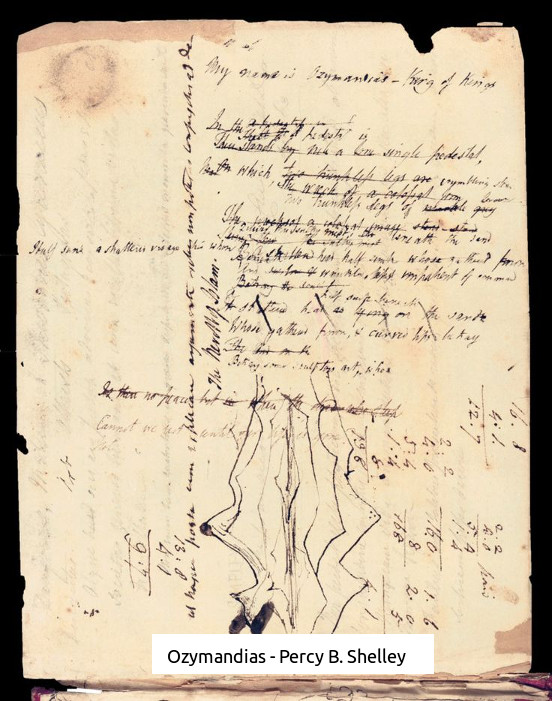 Percy B Shelley - Manuscript for Ozymiandias