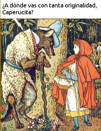 Caperucita Roja y el SEO feroz (ilustración original por Walter Crane).