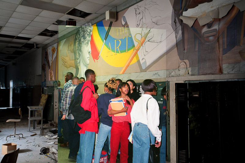 The arts mural on floor 3, 1988.