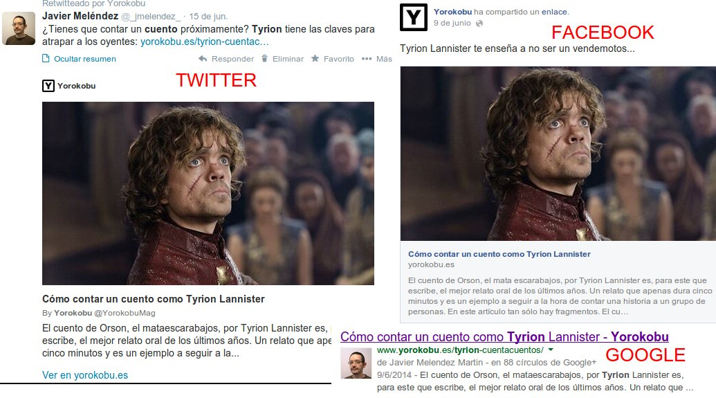 Tyrion en FB, Twitter y Google