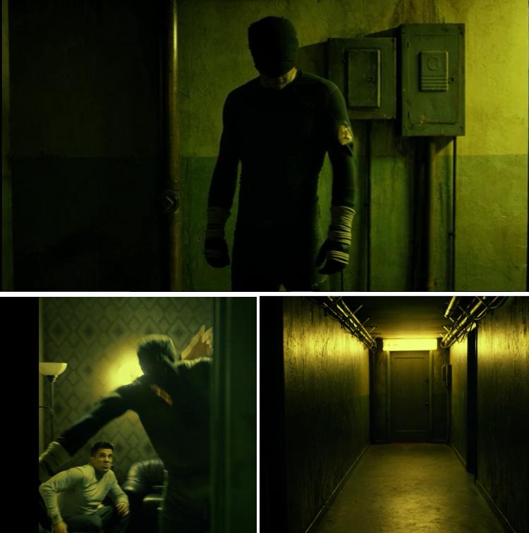 Daredevil entrando en el pasillo