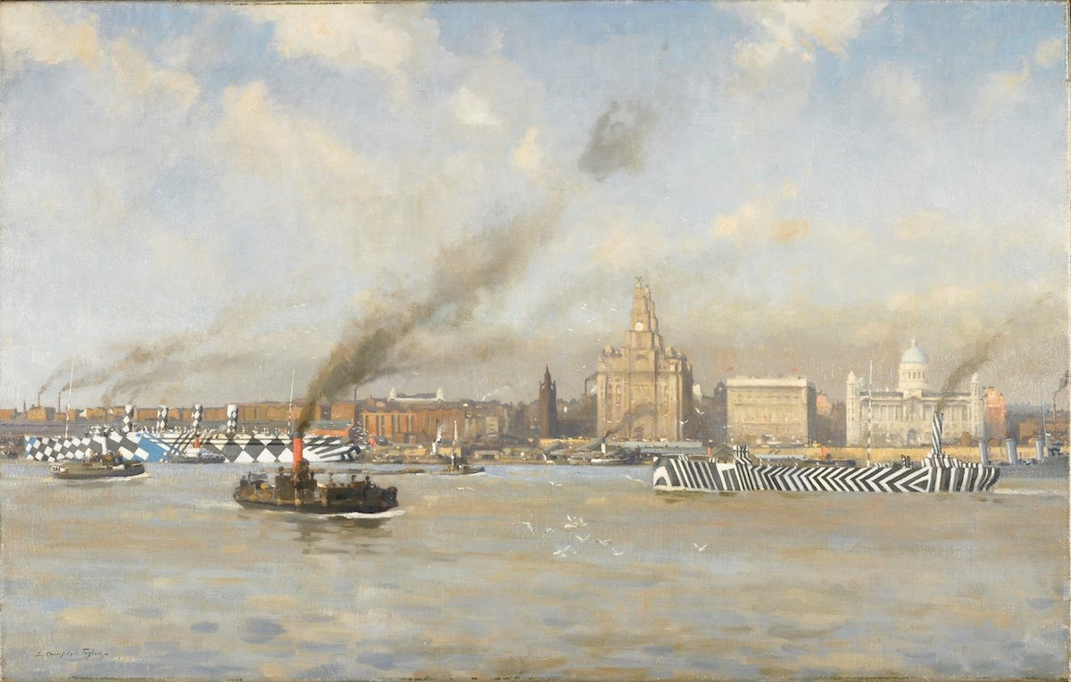 Dazzle painted ships in the Mersey off the Liverpool Waterfront - oil on canvas by Leonard Campbell Taylor c 1918 (3) copy