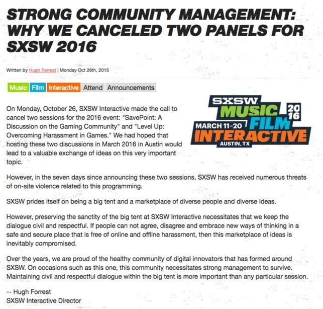 El comunicado que anunciaba la cancelación de las dos ponencias en el SXSW