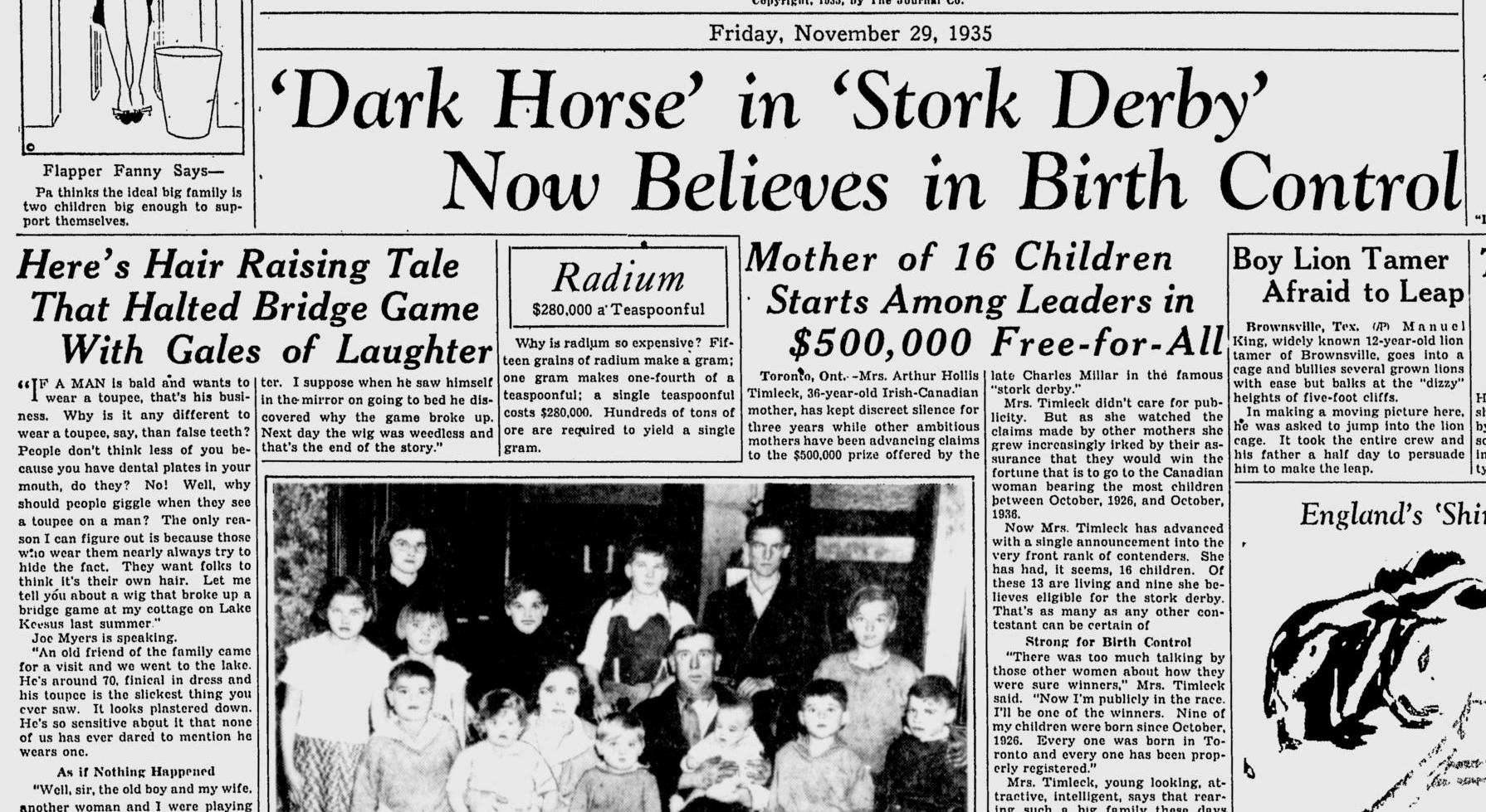 La señora Timleck, a favor del control de la natalidad tras haber parido dieciséis hijos. Fuente: The Milwaukee Journal, 29 de noviembre de 1935.