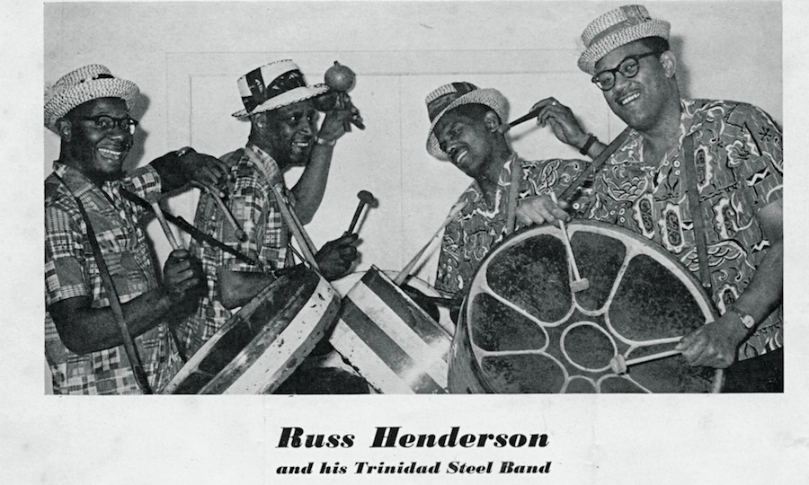 Russ Henderson, second right, and his Trinidad Steel Band.