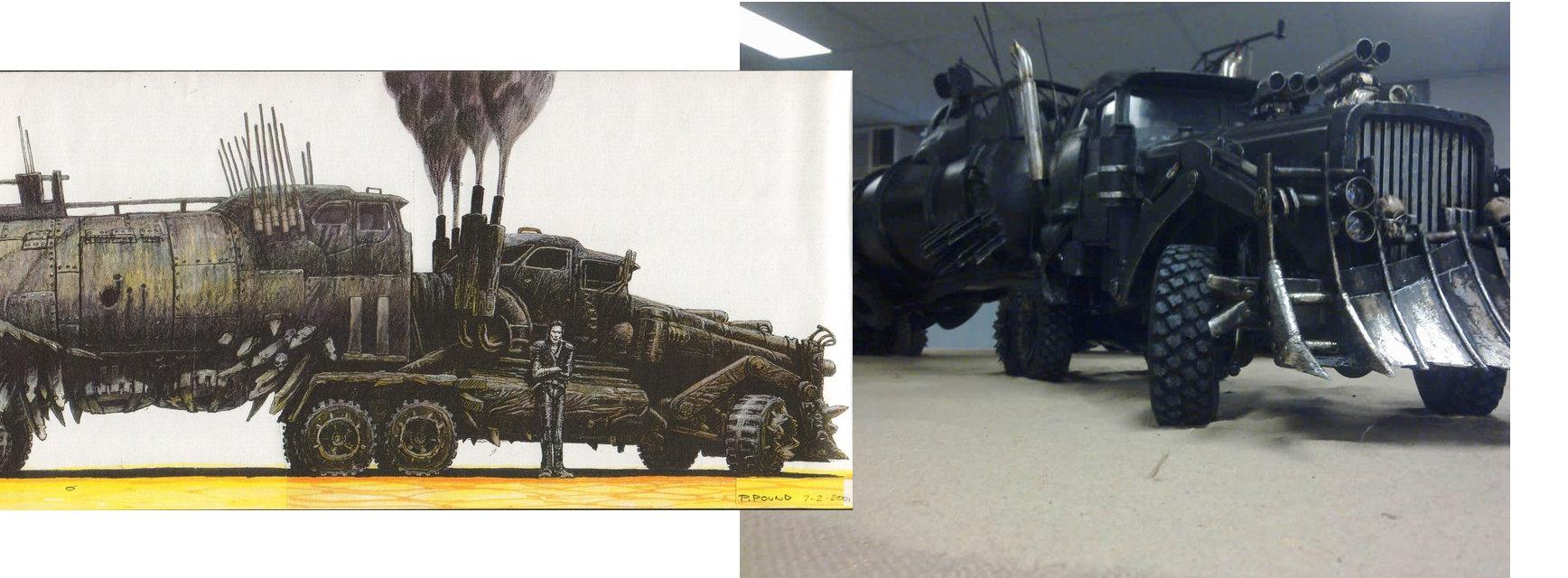 Camión de batalla de Furiosa - Boceto y maqueta de Peter Pound.
