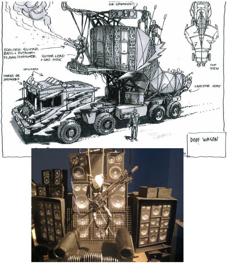 El camión del guitarrista - Boceto y maqueta de Peter Pound.
