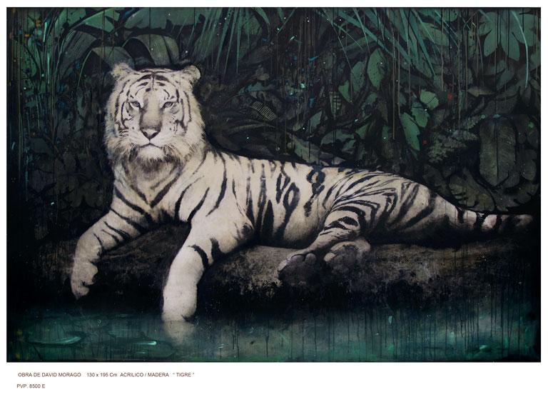 David Morago Tigre Óleo sobre lienzo. Exposición 'Animalista, Representación, violencias y respuestas'