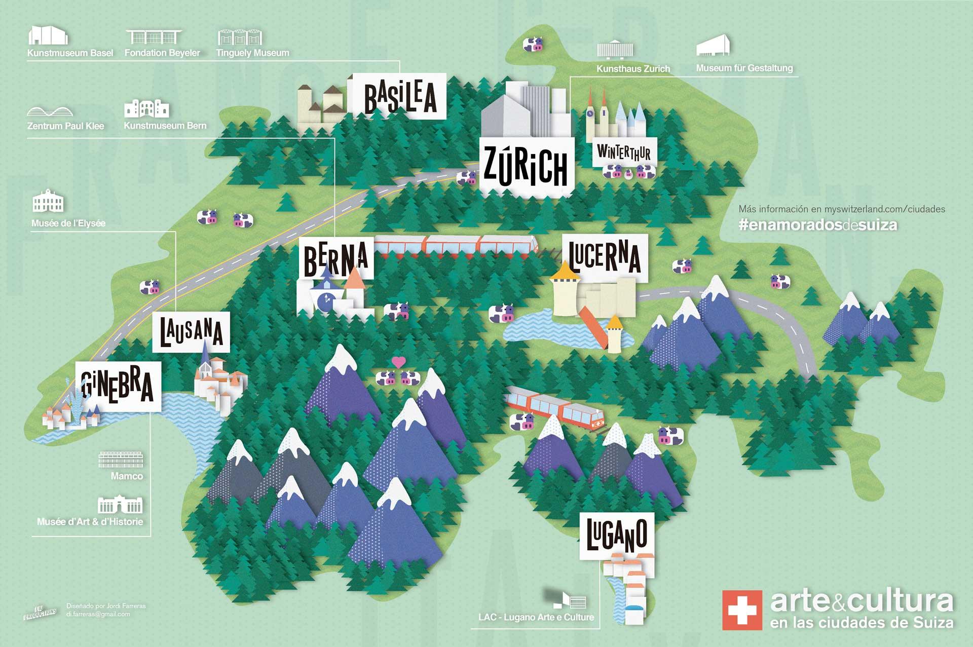 En la propuesta de Jordi Farreras, los museos suizos aparecen semienterrados entre la riqueza natural del país.