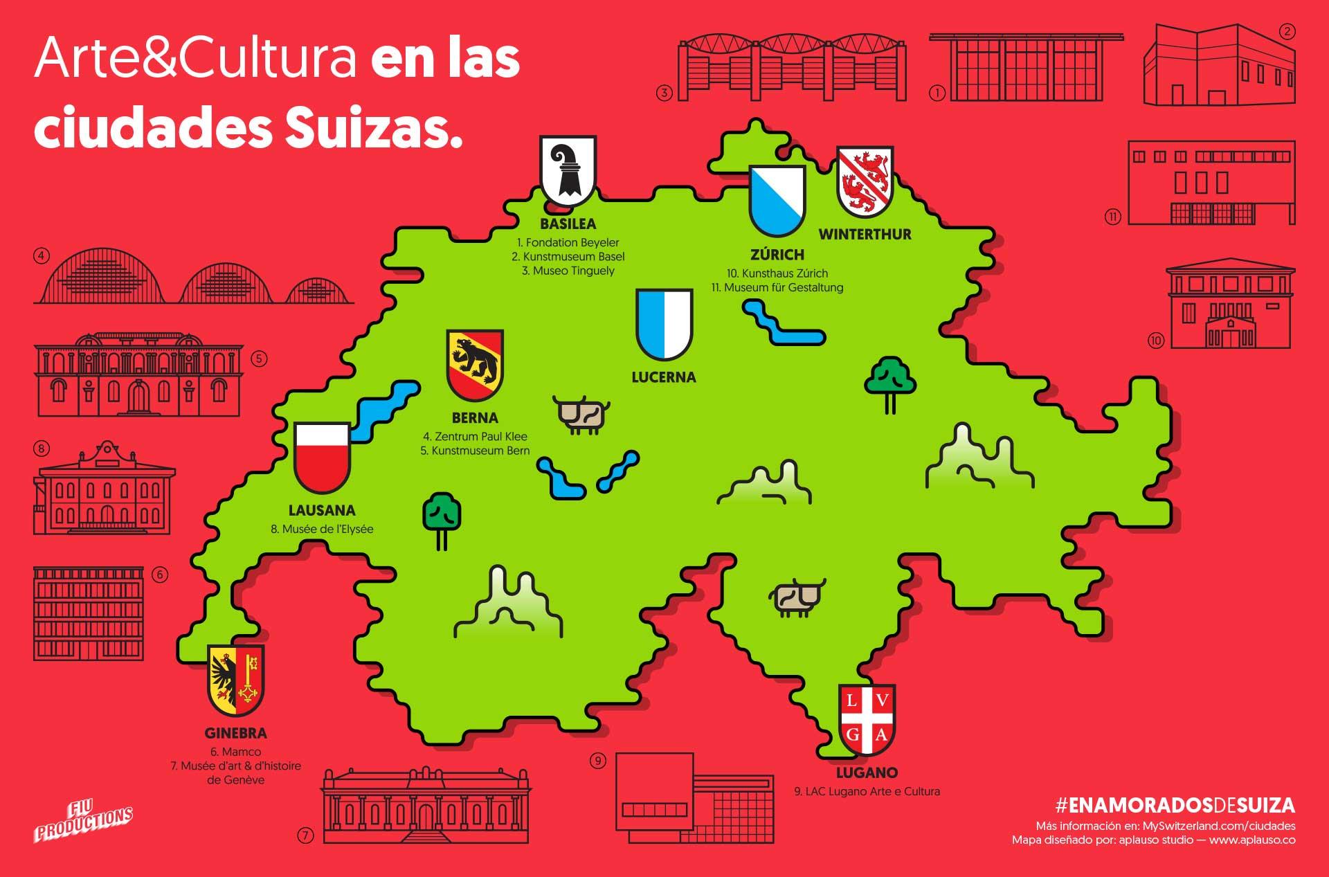 Aplauso hizo referencia a los escudos de los cantones suizos y eligió las formas geométricas incluso en los bordes del mapa.
