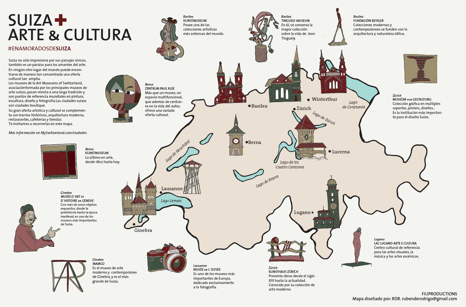 Rubén de Rodrigo prefirió unas ilustraciones más realistas de los principales edificios de las ciudades elegidas.