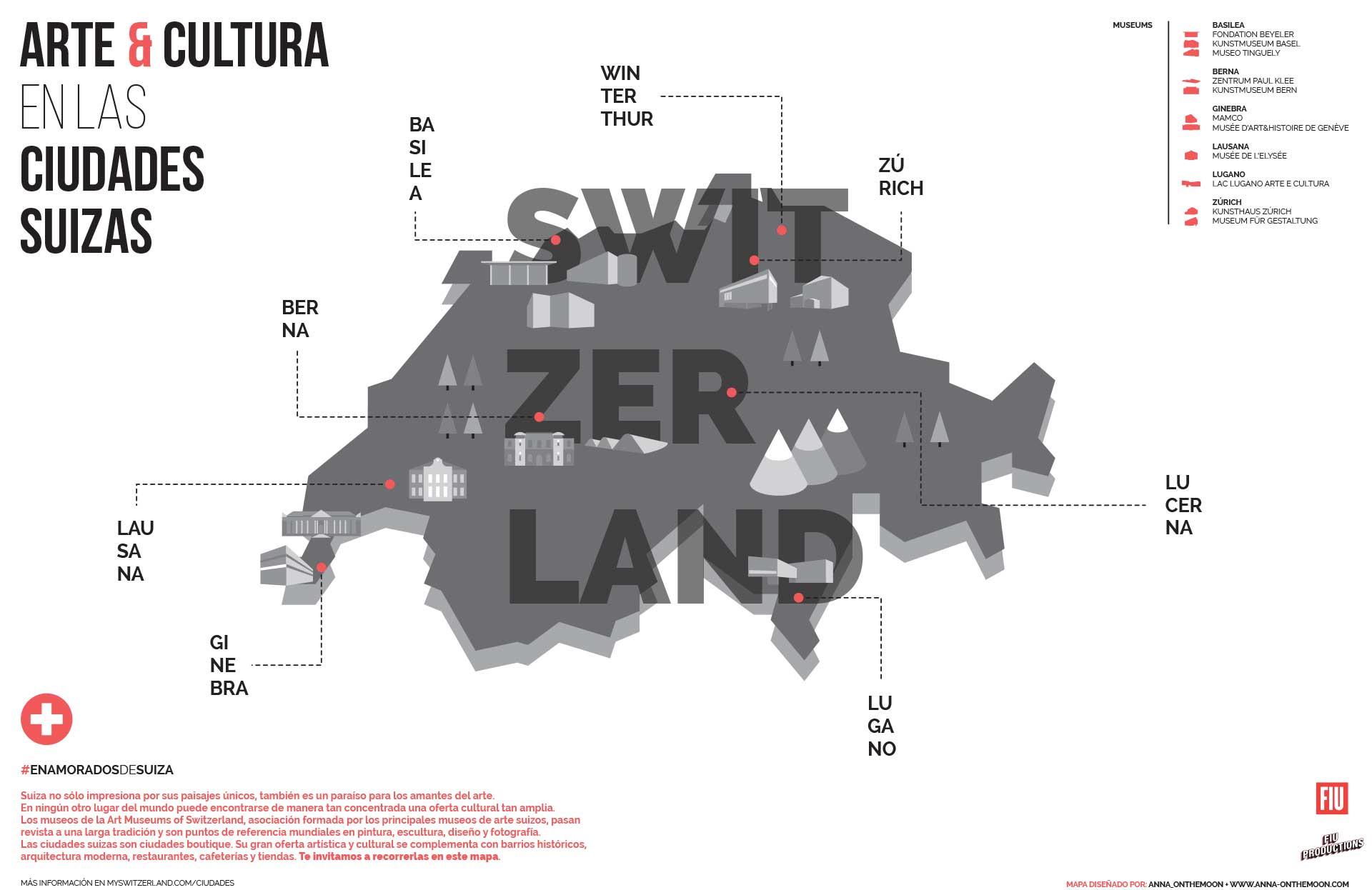 El diseño de Anna Alajarin fue sobrio en forma y color. Predominaba el rojo de la bandera de Suiza sobre un discreto mapa gris.