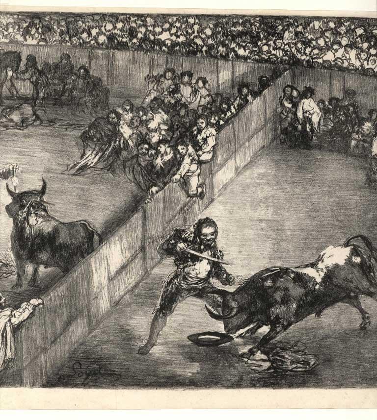 Detalle 'Tauromaquia de Burdeos'. Exposición 'Otras tauromaquias. En el 200 aniversario de la Tauromaquia de Goya'