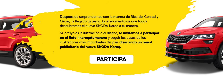 ¿Quieres pintar un mural en un concesionario de Skoda? Únete a Ricardo Cavolo, Conrad Roset y Oscar Llorens #karoqatumanera.