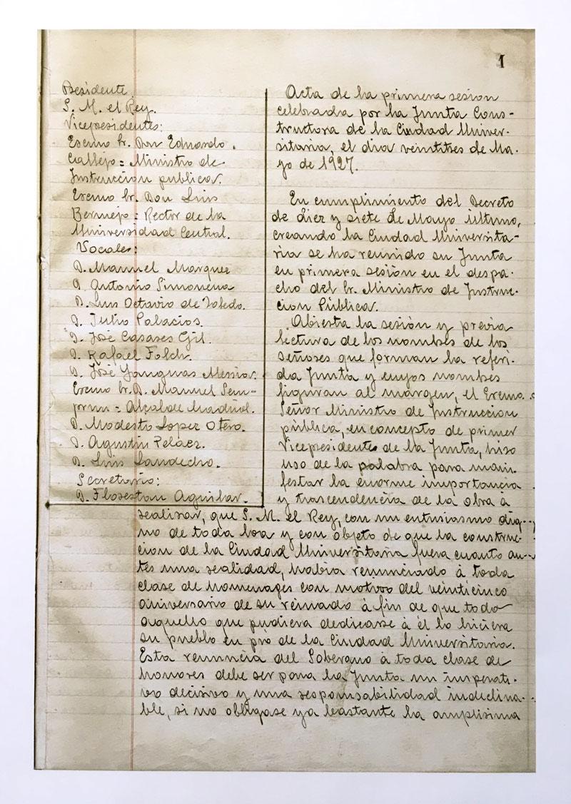 Acta de la primera sesión de la Junta Constructora. 27 de mayo de 1927