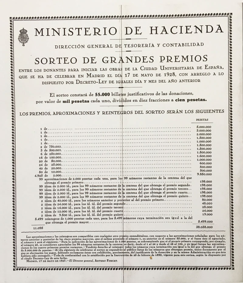 Folleto de propaganda de la Ciudad Universitaria con el anuncio del sorteo de lotería. 17 de mayo de 1928
