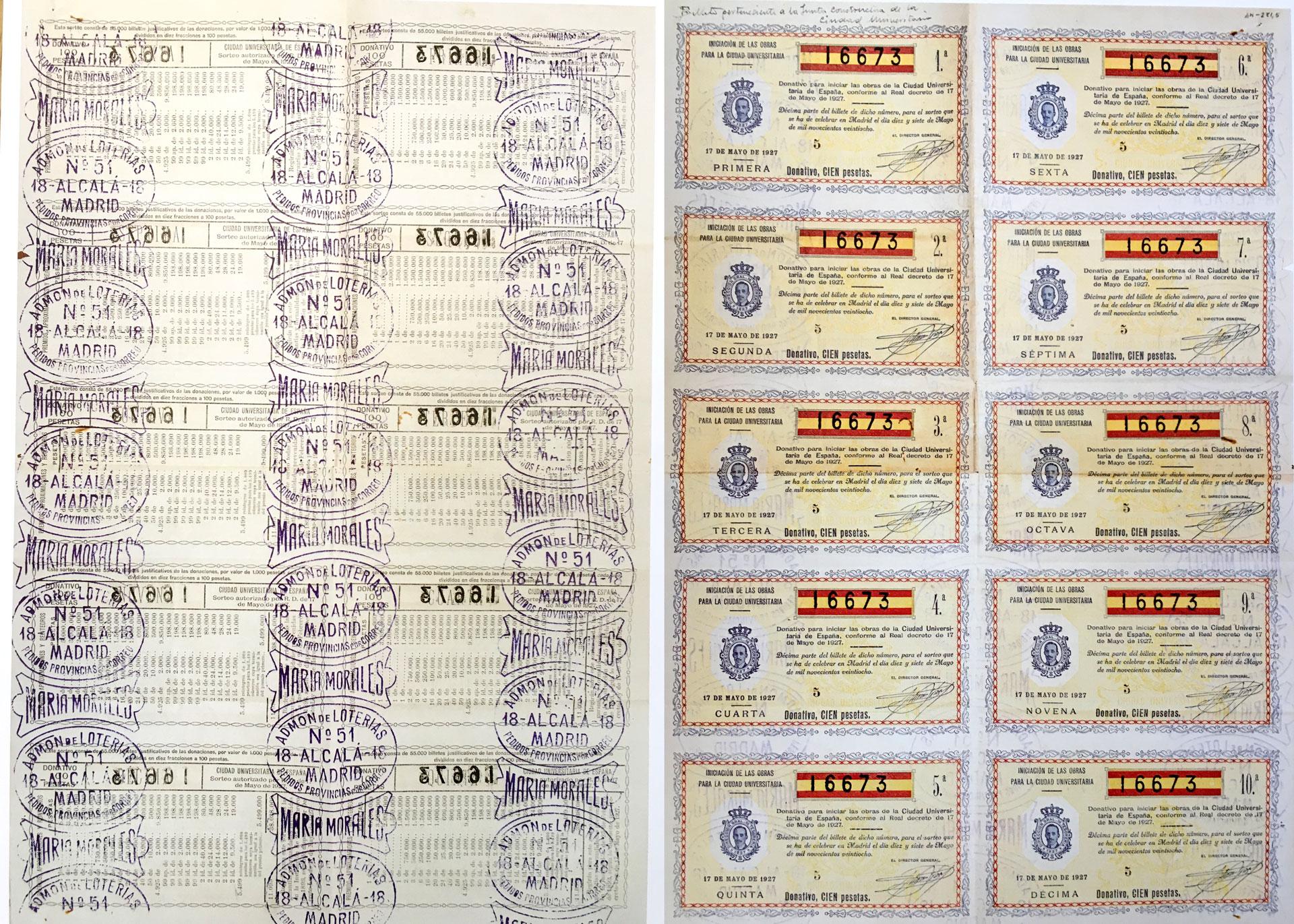 Serie de billetes de lotería para la iniciación de las obras de Ciudad Universitaria. 17 de mayo de 1928