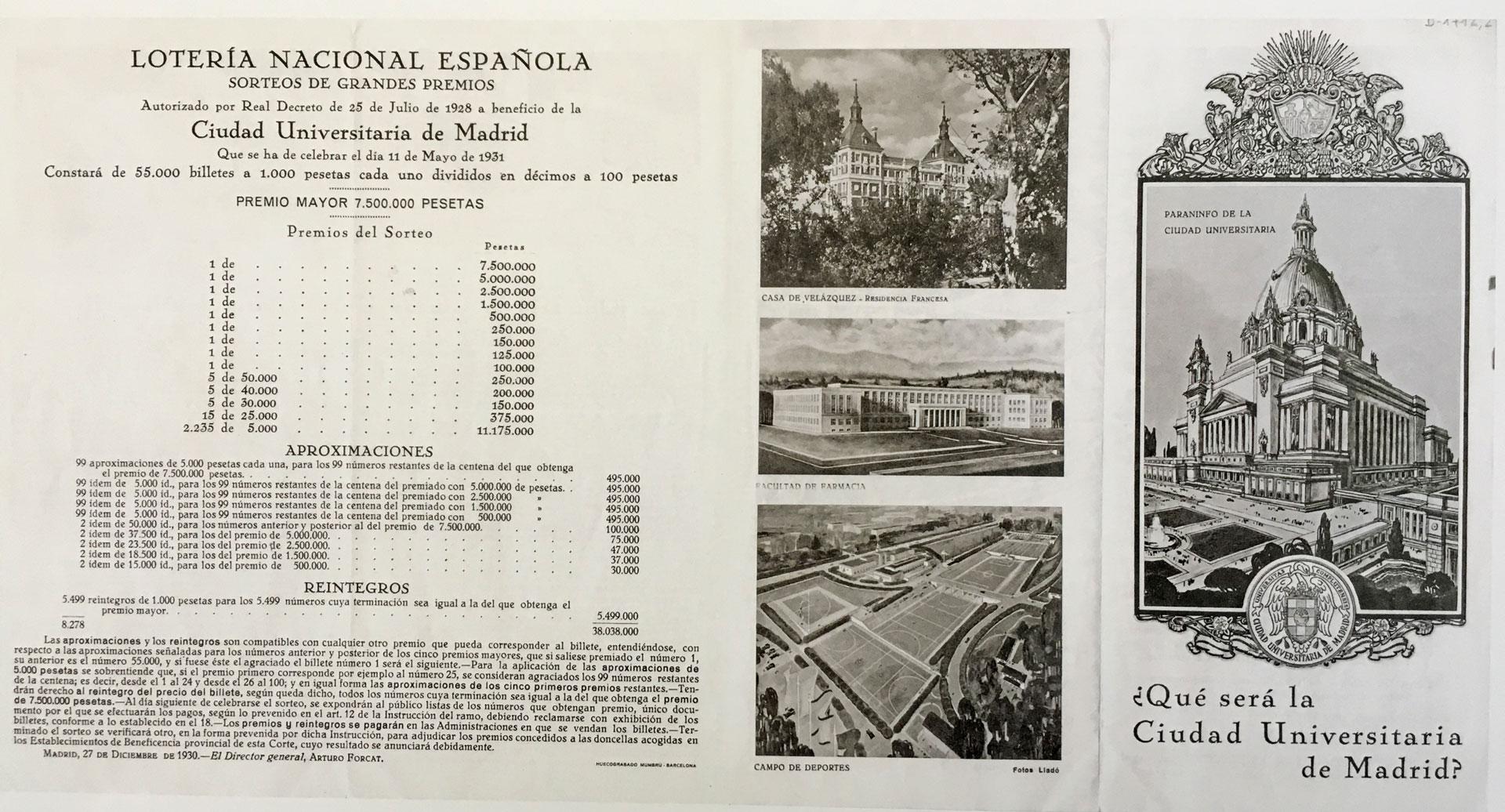 Folleto de propaganda de la CIudad Universitaria con el anuncio del sorteo de lotería. 11 de mayo de 1931