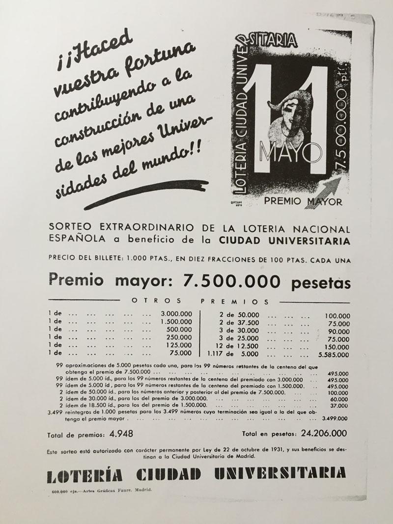 Cartel publicitario del sorteo extraordinario de la lotería nacional española a beneficio de la Ciudad Universitaria. 11 de mayo de 1931