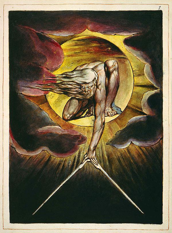 El anciano de los días mide la Tierra con un compás (William Blake)
