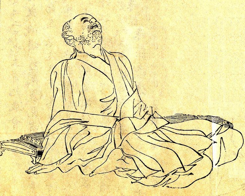 Dibujo de Kamo no Chōmei, por Kikuchi Yosai
