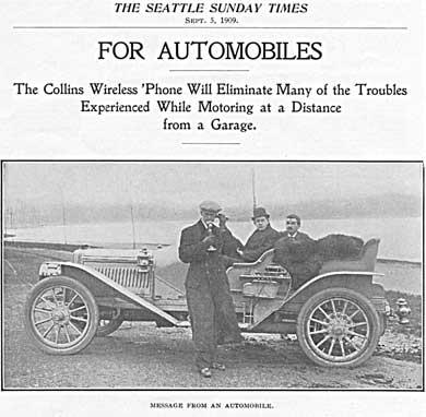 Anuncio de 1909 del teléfono sin cables de Collins.