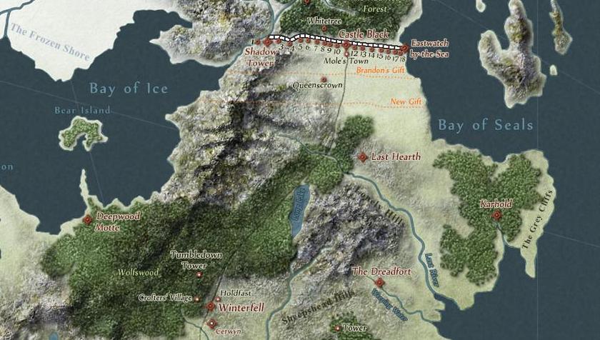 Captura del mapa interactivo de Juego de Tronos