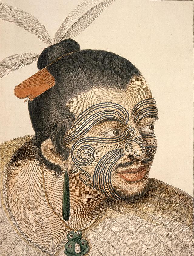 Un jefe Maorí encontrado por el capitán James Cook, y dibujado por Sydney Parkinson en 1784 (DP)