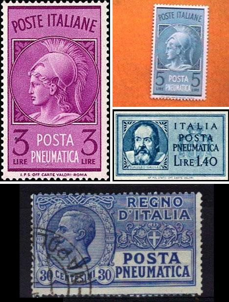 Colección de sellos del correo neumático en italia. Foto: Linns