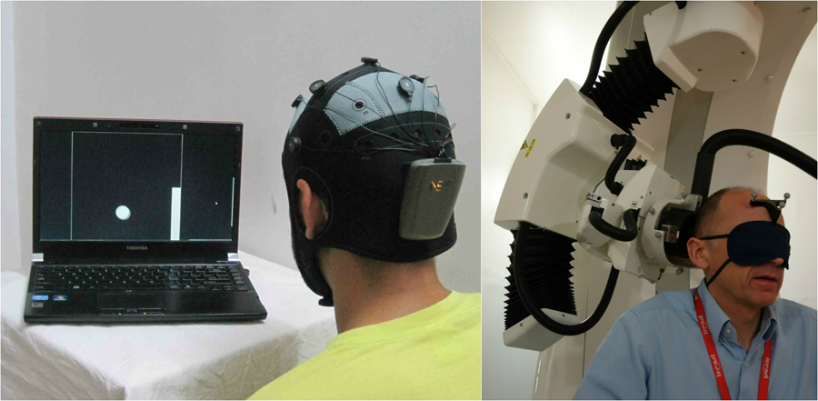 A la izquierda, el emisor con su casco de electrodos. A la derecha, el receptor con el aparato que envía los impulsos a su corteza. / PLoS ONE