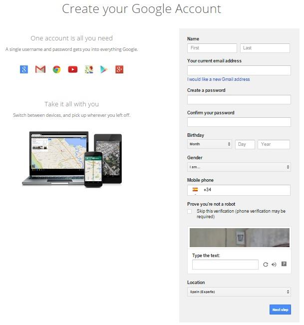 nueva cuenta de google