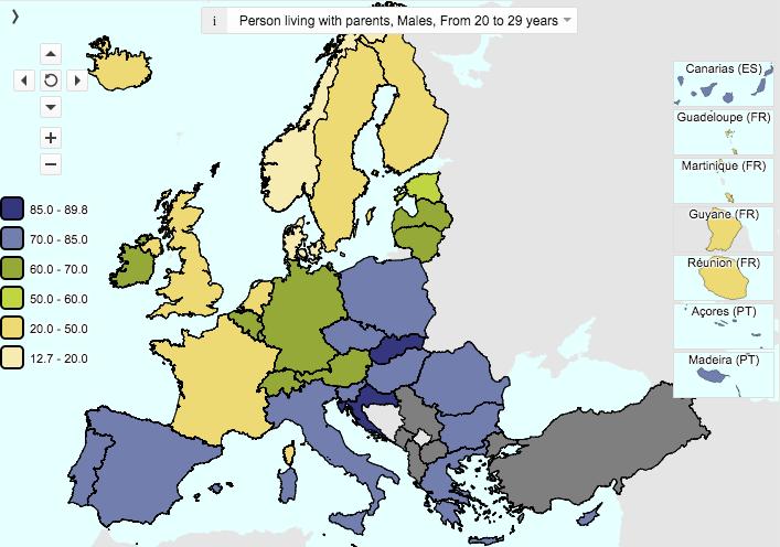 Estadística de jóvenes varones de 20 a 29 años viviendo con sus padres en Europa (Fuente: Eurostat)