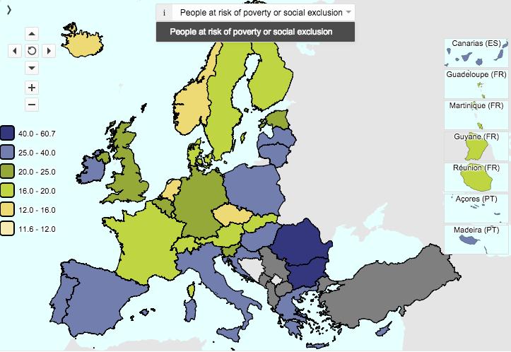 Riesgo de pobreza y exclusión en Europa (Fuente: Eurostat)