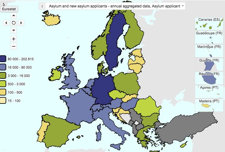 Peticiones de asiloRiesgo de pobreza y exclusión en Europa (Fuente: Eurostat)
