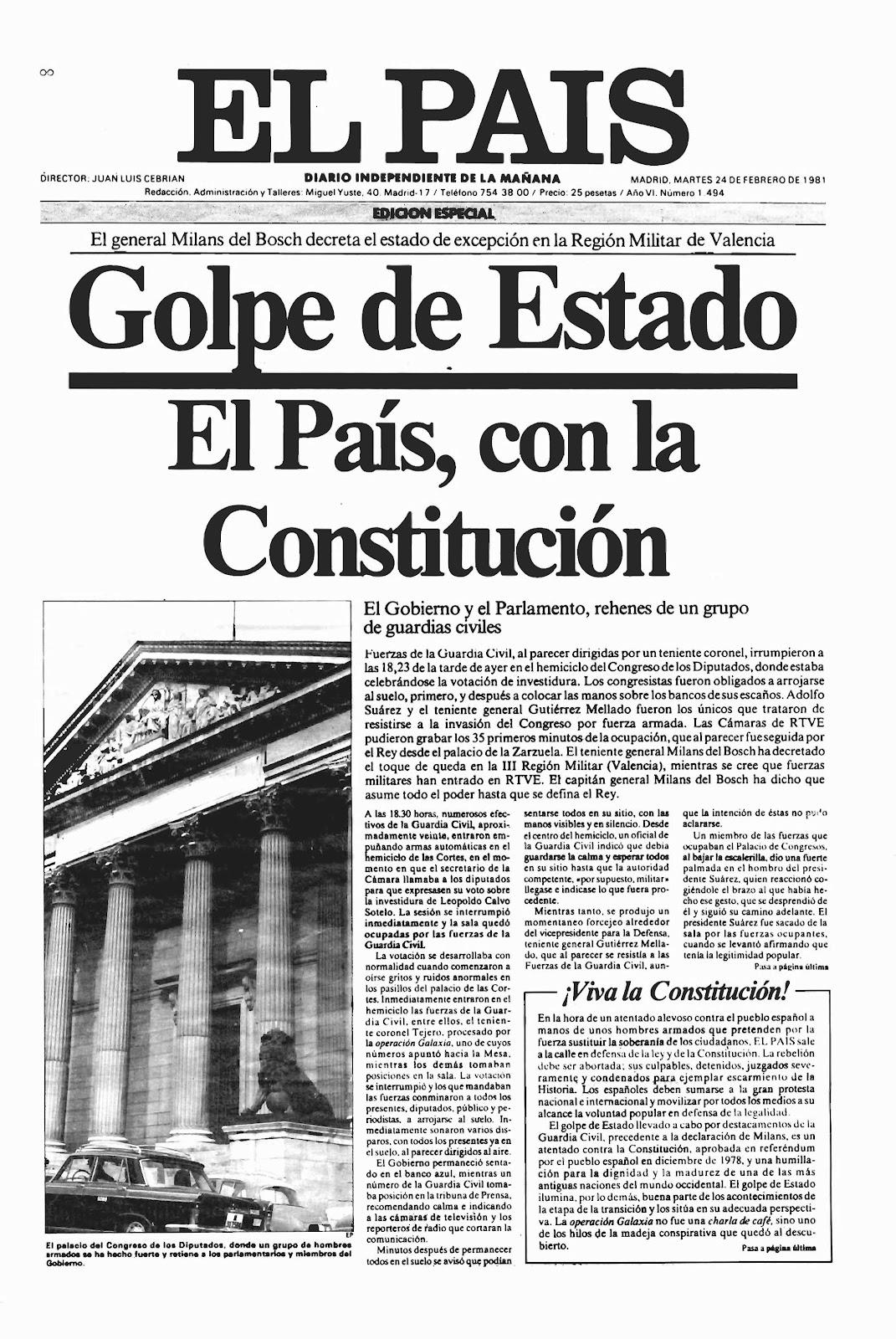 Portada El País 23F