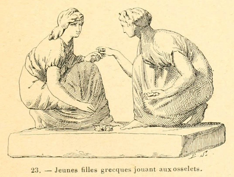 dessin jeux et jouets - jeunes filles grecques jouant aux osselets