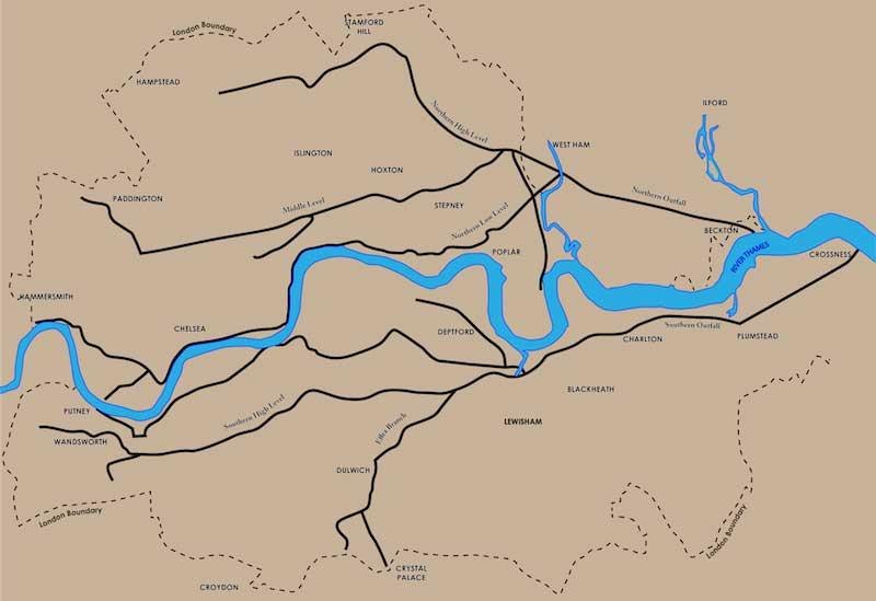 Mapa de la red principal de alcantarillado diseñada por Bazalgette/Philg88, Wikimedia Foundation