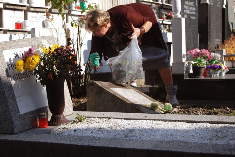 Cementerio de Zemun (Belgrado) Una mujer ha viajado desde Croacia para adecentar las  tumbas de sus familiares y las que están alrededor