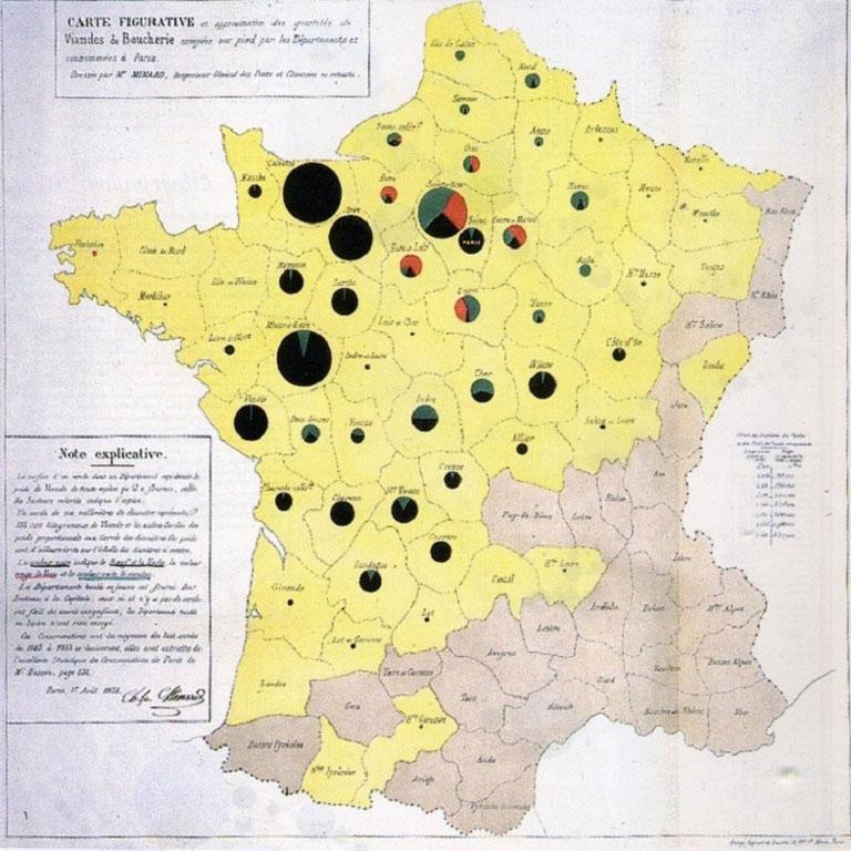 Calidad de la carne en Francia, por Charles Minard