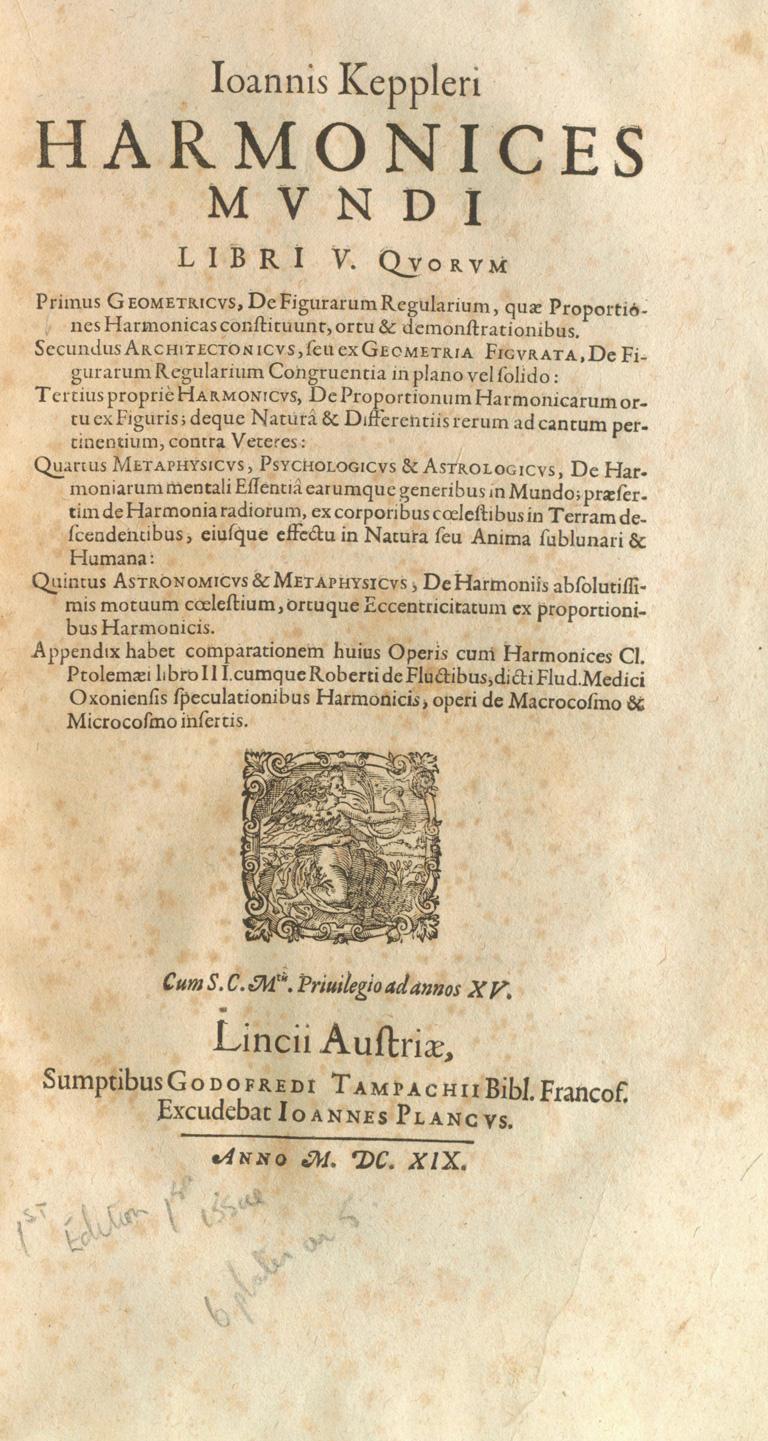 Harmonices Mundi, de Johannes Kepler (1619)