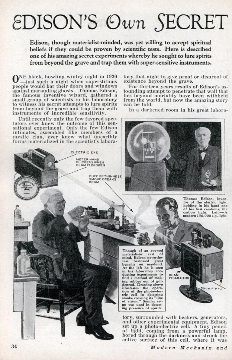 La máquina para comunicarse con los muertos de Edison, en Modern Mechanix, octubre 1933