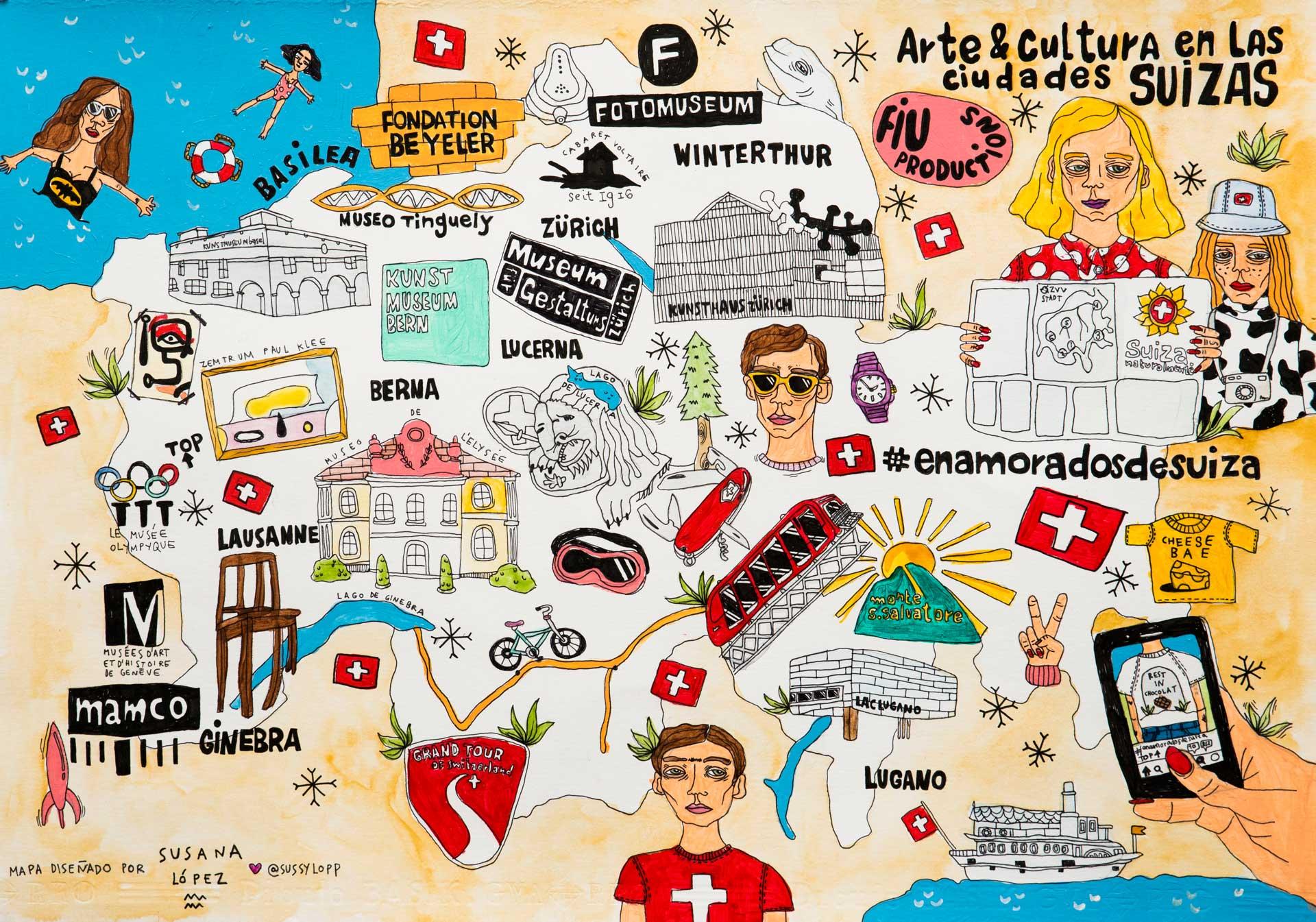 Susana López dio un look festivo al mapa de Suiza con esta colorida propuesta.