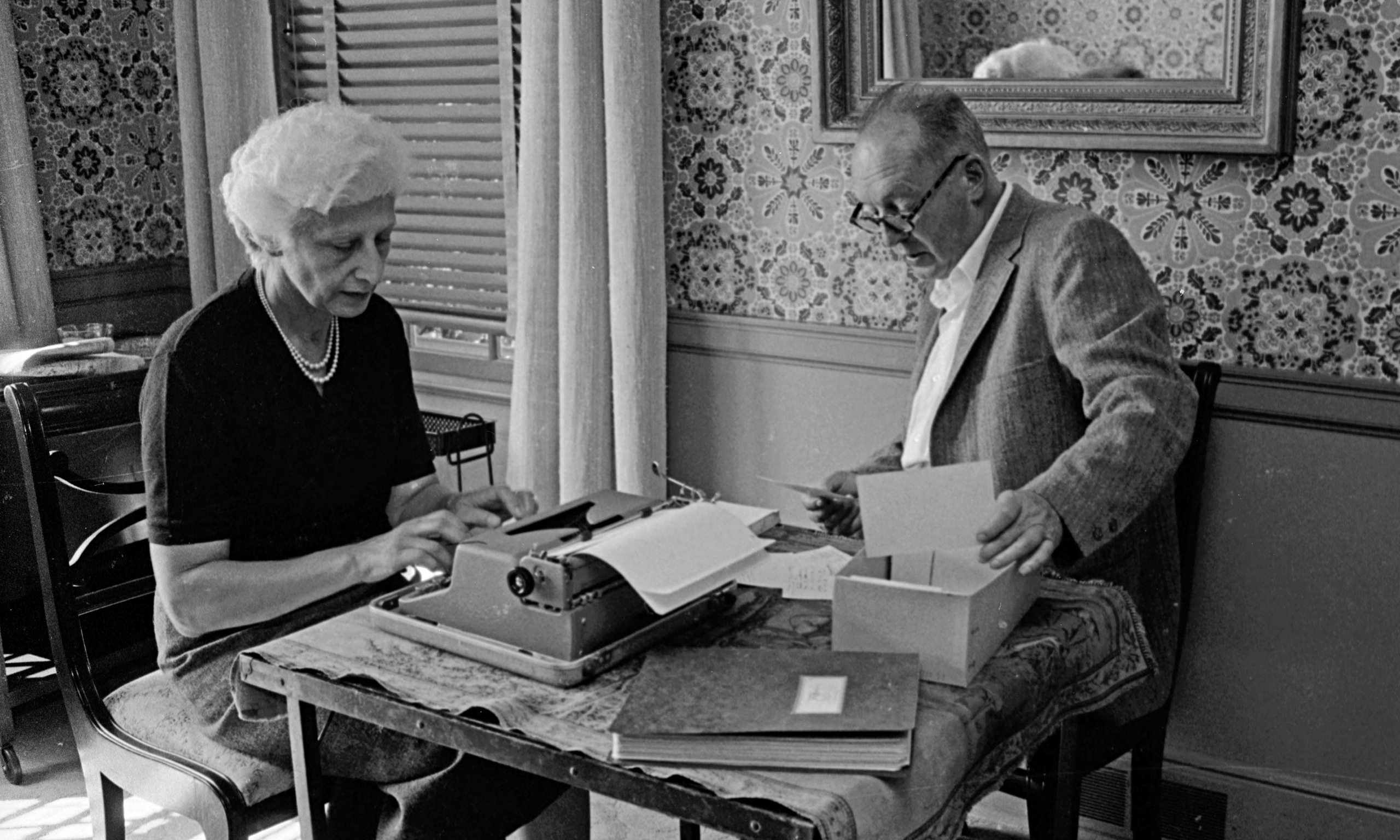 Vladimir Nabokov dictates while his wife Vera types, Ithaca New York, 1958